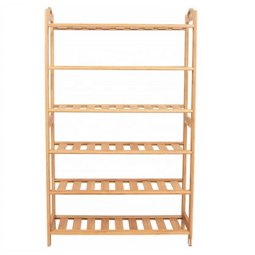 HOME Free Standing Bamboo Shoe Rack with Handles | 6 Tier | Wood | Closets and Entryway | Organizer | Fits 18 Pairs